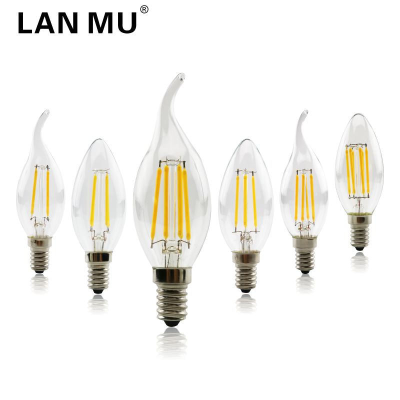 LAN MU LED Filament Candle Light Bulb E14 220V 2W 4W 6W C35 Edison Bulb C35L Retro Antique Vintage for Chandelier Light dimmable led filament candle light bulb e14 220v 240v 2w 4w 6w c35 c35l vintage edison bulb for chandelier cold warm white