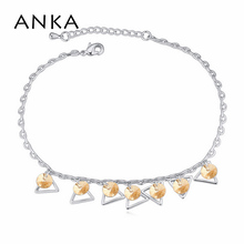 Barefoot Sandals Rushed Trendy Foot Bracelet Triangle Jewelry 2015 New Crystal Anklets Made With Swarovski Elements #115461