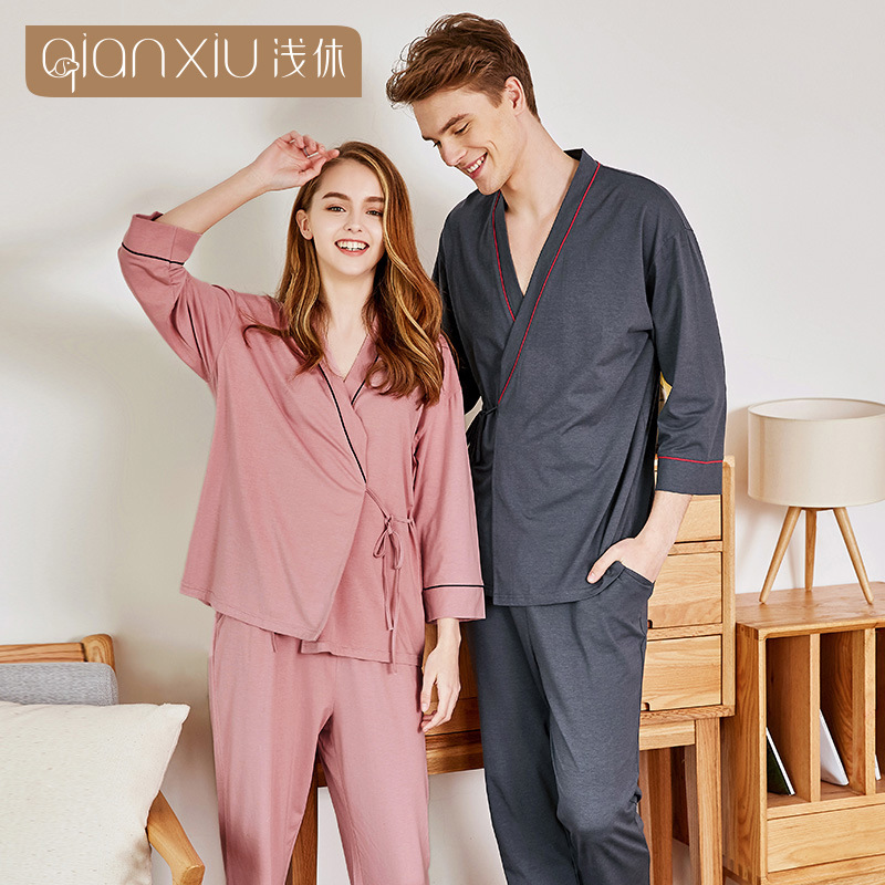 Autumn solid color Pyjamas Cotton Couple   Pajamas     Set   Women Sleepwear   Pajama     Sets   Pijamas Mujer Lover Pyjamas Homewear Clothing