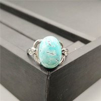 Natural Turquoises Ring 15x11mm For Woman Man Crystal Anniversary Gift 925 Silver Sterling Luxury Jewelry Adjustable Finge Ring