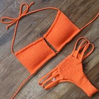 Sexy Swimwear Women Bikini Solid Swimsuit Bandage Bikini Set Fold Beachwear Bodysuit Women S Swimming Suit