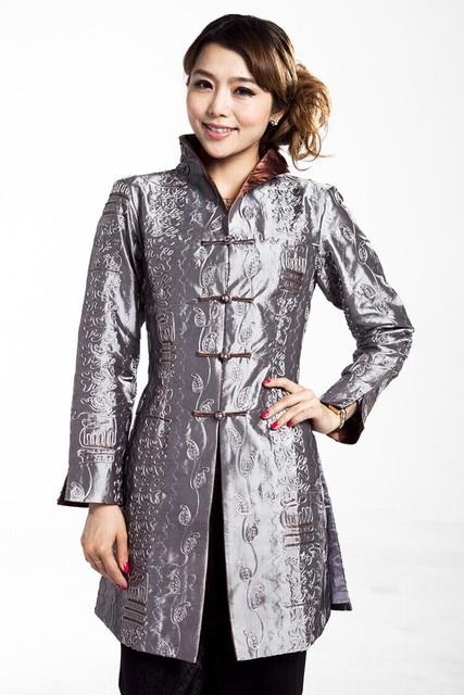 Серый леди полиэстер пуговица пальто среднего возраста матери длинная стиль куртка весна осень пиджаки размер S до XXXL T045