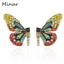 European Fairy Tale Butterfly Earrings For Women Colorful Rhinestone Wing Stud Earrings Trendy Gifts For Girls Woman Accessories a suit of graceful rhinestone butterfly earrings for women