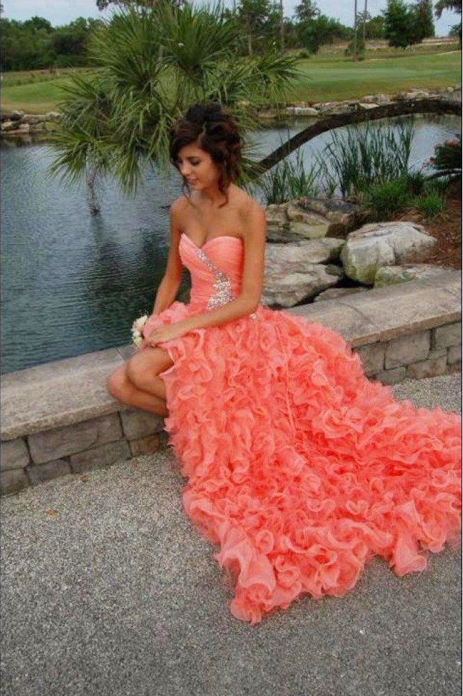 2019 New Design Sweetheart Ruffles Coral Long   Prom     Dresses   Beaded High Low Organza Evening Party Gowns BO3294
