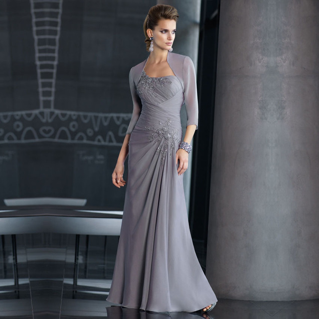 b980799a963 Recién llegado de largo elegante encaje con cuentas Gray gasa lf2739 madre  de la novia viste