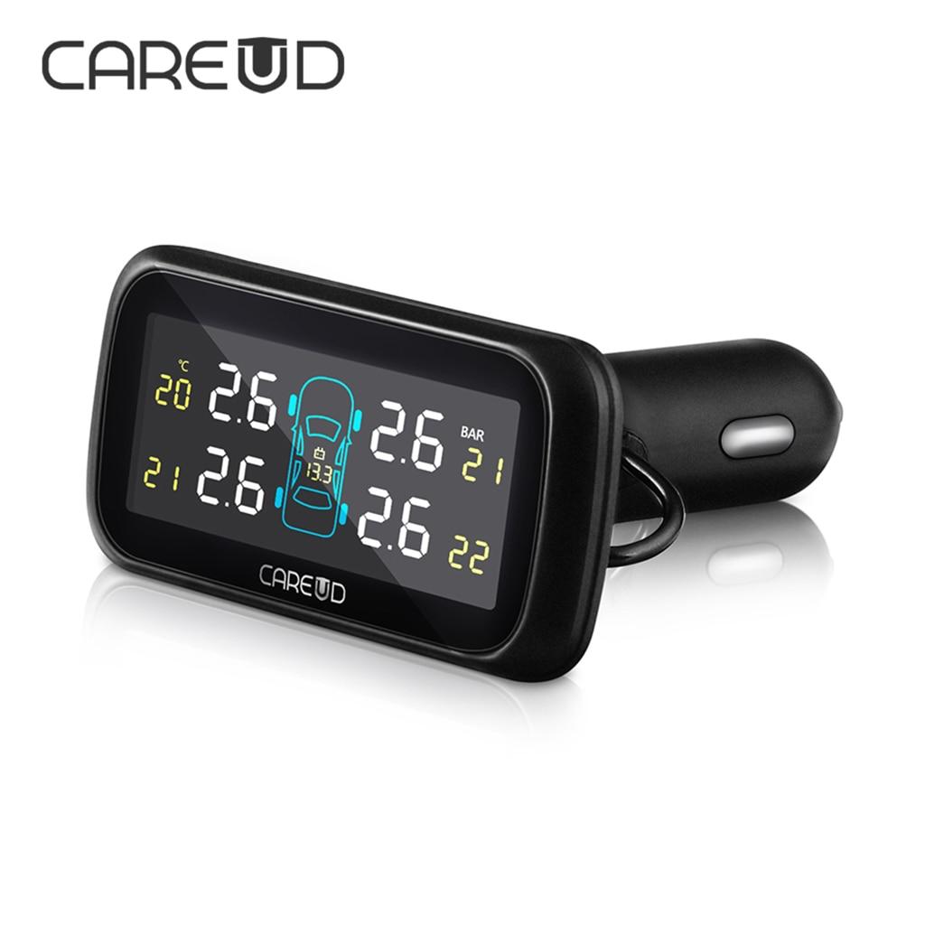 CAREUD U903 système de surveillance de la pression des pneus de voiture sans fil TPMS 4 capteurs externes ou internes moniteur LCD voiture allume-cigare