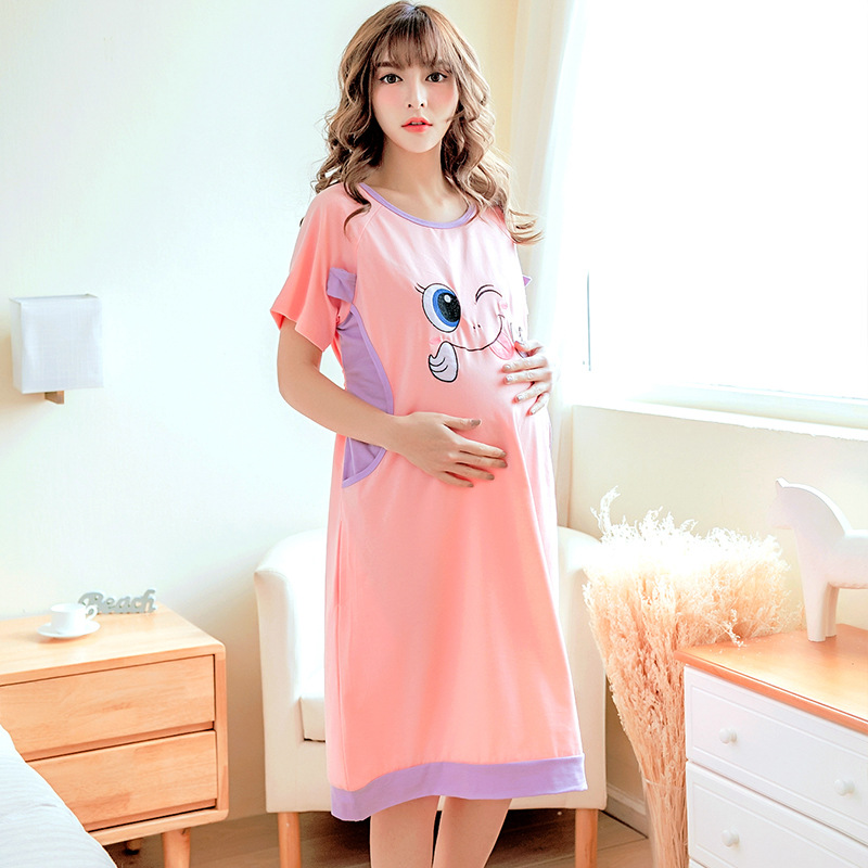 Summer Maternity Dress Thin Short Sleeve Casual Cartoon Pajamas Confinement Clothing Going out Dress for Pregnant Women