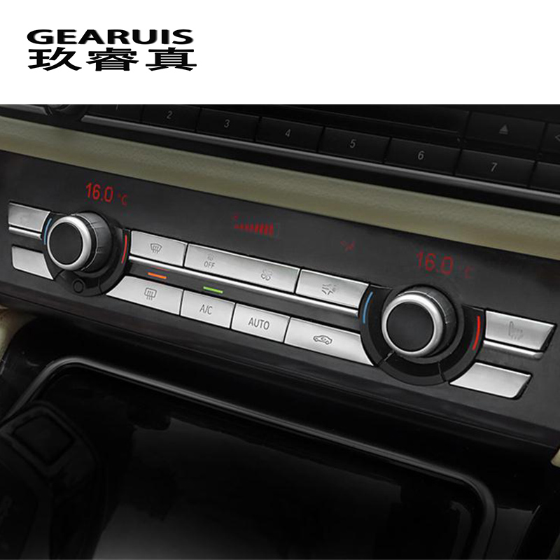 Car Styling Interior Buttons Stickers Covers Multimedia Air Conditioning CD Panel Trim For BMW 5 Series F10 F18 Auto Accessories