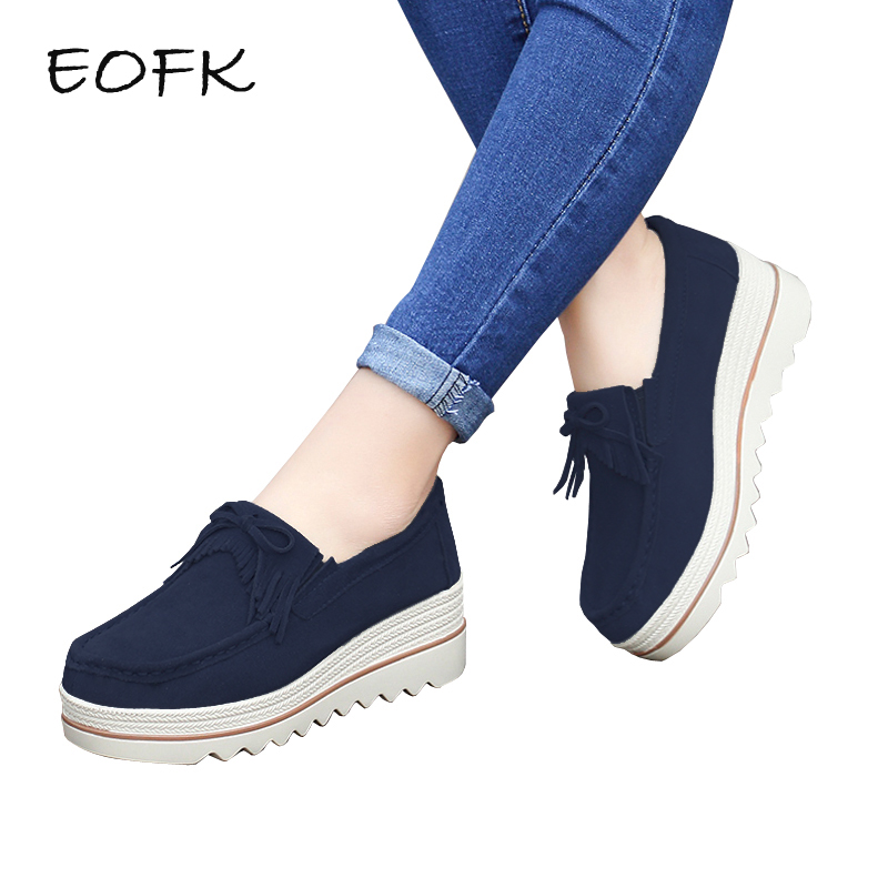 EOFK 2019 Design Spring Autumn Women Moccasins Flats Suede leather Tassel Shoes Lady Loafers Slip On