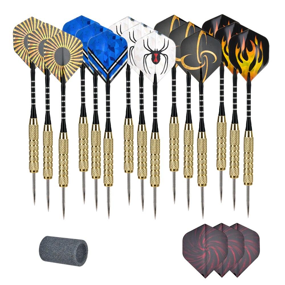 15 Pcs (1 Set) Professional Steel Tip Darts Flight Steel Tip Dart Darts With Nice Flights Professional Metal Darts Set