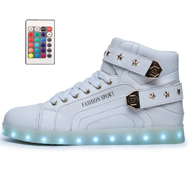 Remote Control High Top Led Shoes Men Light Up Luminous Neon Basket USB Charge Couple Flash Men Shoes Casual Hot Fashion