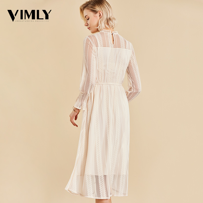 Image 2 - Vimly Elegant Mesh Lace Embroider Women Dress Stand Neck Flare Sleeve Party Dresses Sexy Midi Elastic Waist Hollow Out Dress-in Dresses from Women's Clothing