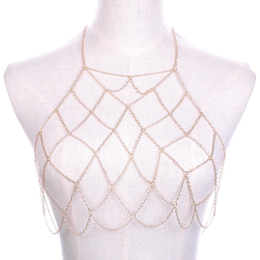 a45b3527a5953 Hot Sexy Women Cross fishing net Metal Body Chain Bikini Belly ...