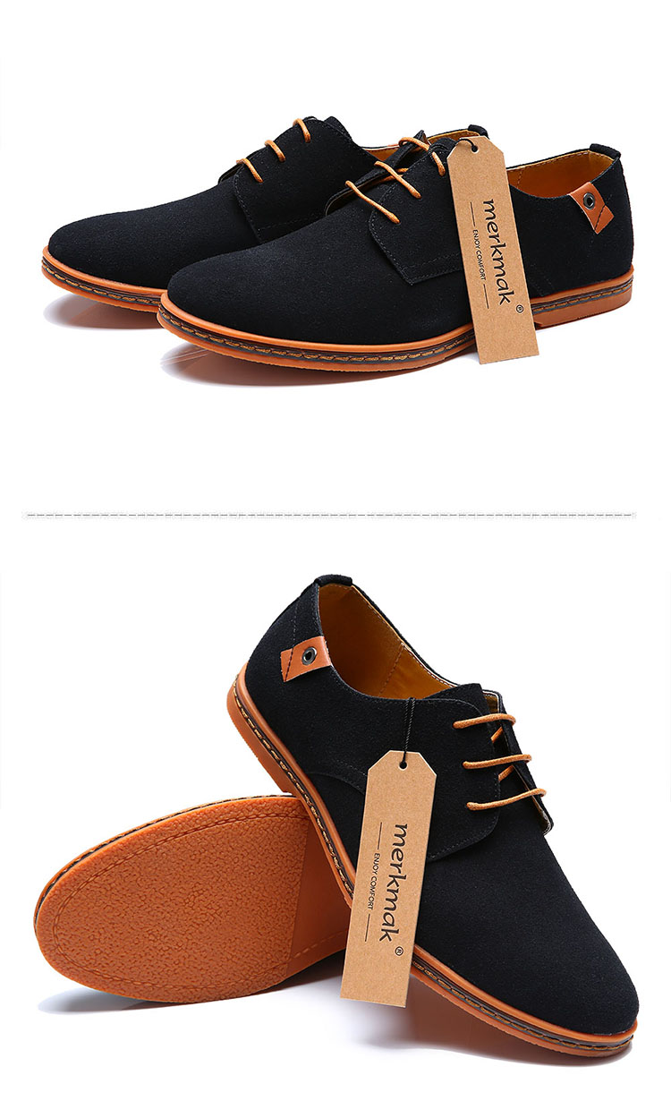 New 17 Fashion Men Shoes Suede Leather Casual Flat Shoes Lace-up Men's Flats for Man Rubber Outsole Driving Shoes Footwear 15