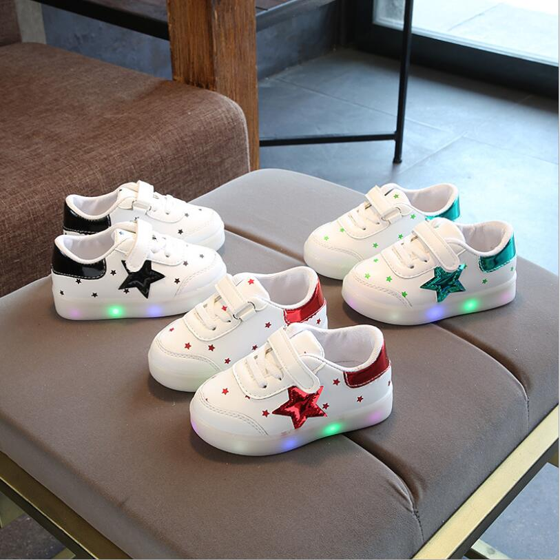 Wholesale - (5 pairs) Children's Star Sports Shoes Spring Children Colorful Flash LED Light Girls Boy Casual Shoes Size 21-30
