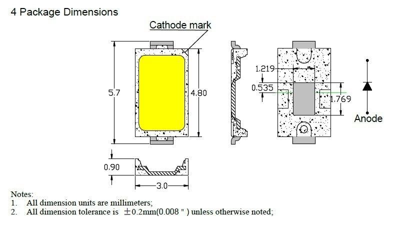 Светодиодный светильник smd5730 3 Вт 7 14 12 18 24 36