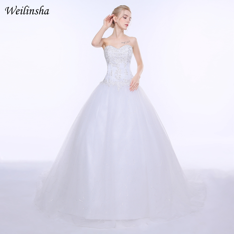 Weilinsha Plus Size Ball Gown Wedding Dresses 2018 Tulle Princess Appliques In Stock White Wedding Bridal