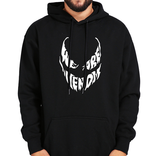 Venom Hoodie Sweatshirts Anime Sturdy Superhero Cool Black Gray Autumn Winter Tops Plus Velvet Casual Thick Hoody