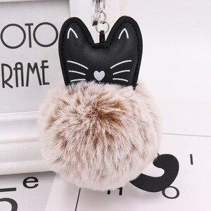 Image 5 - 10 개/몫 여자 패션 쥬얼리 Keychains 솜털 고양이 귀여운 펜 던 트 키 링 여성 가방 자동차 장식