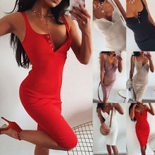 New Fashion Women's Sleeveless V-neck High-waist Stretchy Package Hip Bodycon Slim Dress Lady Summer Sexy Club Party Dress S-L