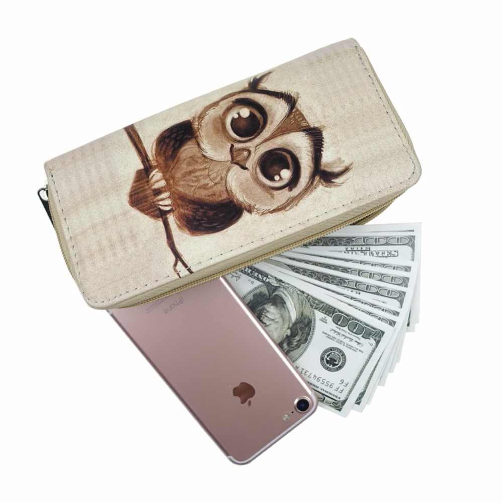 女性のクラッチ財布バッグロング財布プリント漫画ジッパー財布十代の少女と電話レディースカードホルダー