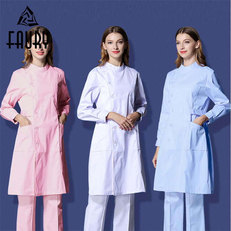 Nurse Short-sleeved Female Summer Work Dress Pharmacy Drugshop Overalls Beauty Salon Pet Hospital White Lab Coat Medical Uniform