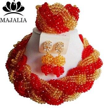 16650142c50c Rojo de moda nigeriana boda Africana cuentas de joyería conjunto de cristal  collar pendientes pulsera conocida majalia una marca bien 1065