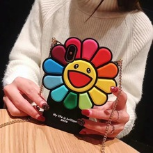 3D Cute Sunflower Phone Case For iPhone 7 8 6 6S Plus Soft TPU XR XS MAX Cartoon Silicone Back Cover Shell Strap