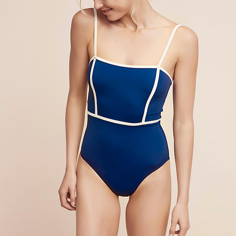 Vintage One Piece Swimsuit 2018 New Women Sexy Blue Swimwear Shapping Body Swimming Suit Straps Beachwear Maillot De Bain XL