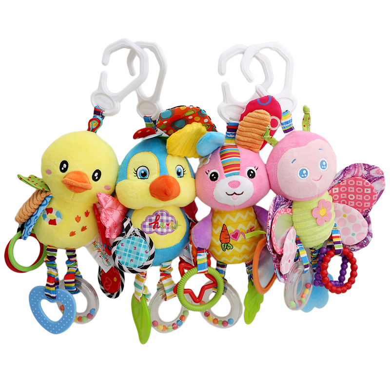 Happy Monkey Kid Baby Crib Cot Pram Hanging Rattles Stroller&Car Seat Toy Aniaml Ringing Stuffed Plush Animals Baby Toy