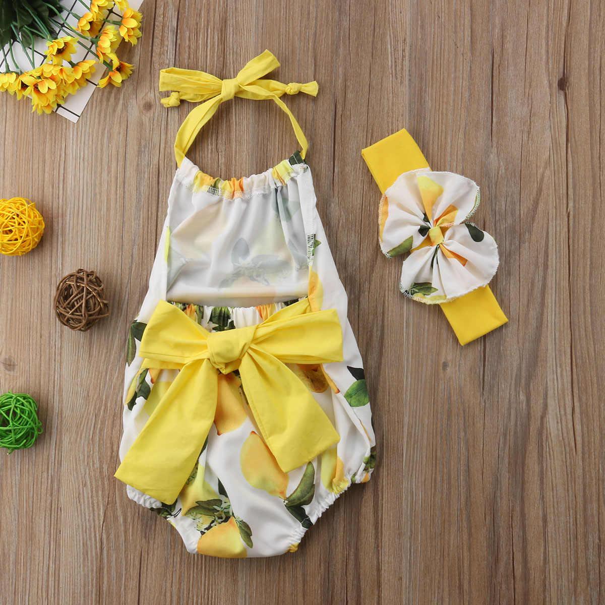 PRINTING geel Pasgeboren Baby Baby Meisjes Riem Mango Bodysuit Jumpsuit Outfits 0-24 m mouwloze zomer zoete mooie CH