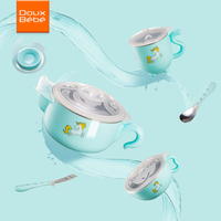 Doux Bebe Warming Plate Injection Hot Water Insulation Cup Children's Food Dishes Dinnerware Bowl Baby Feeding Tableware