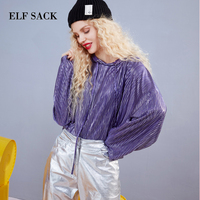 ELF SACK Autumn New Woman Tshirts Solid Hooded Long Sleeve Women T shirt Lace Casual Full Purple Women Tees Loose Femme Tops