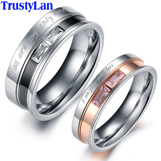 TrustyLan Gift Luxury Wedding Bands For Women And Men Engagement Jewelry Stainless Steel CZ Rings His