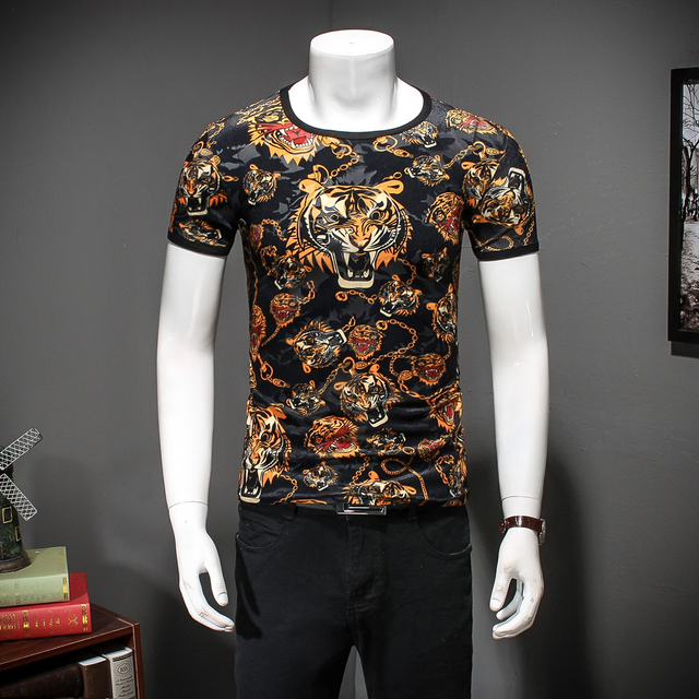 2eac6558e 2017 Tiger T shirts Mens Black Gold T shirts Homme Leopard Print Mens Fancy T  Shirts Floral Mens Camisa Slim Fit Club Outfits