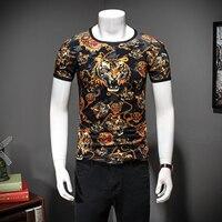 2019 Tiger T shirts Mens Black Gold T shirts Homme Leopard Print Mens Fancy T Shirts Floral Mens Camisa Slim Fit Club Outfits