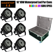 6IN1 Flight Case met Wielen 18x18 W Professionele Podium Verlichting gegoten Aluminium RGBWAP Waterdicht Zoom LED par Kan Licht(China)