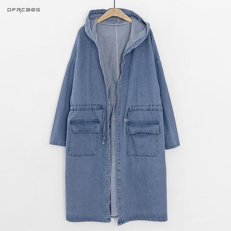 3XL 4XL Light Blue Hooded Women Denim Trench Coats 2018 Winter Fashion Vintage Long Coats Jeans
