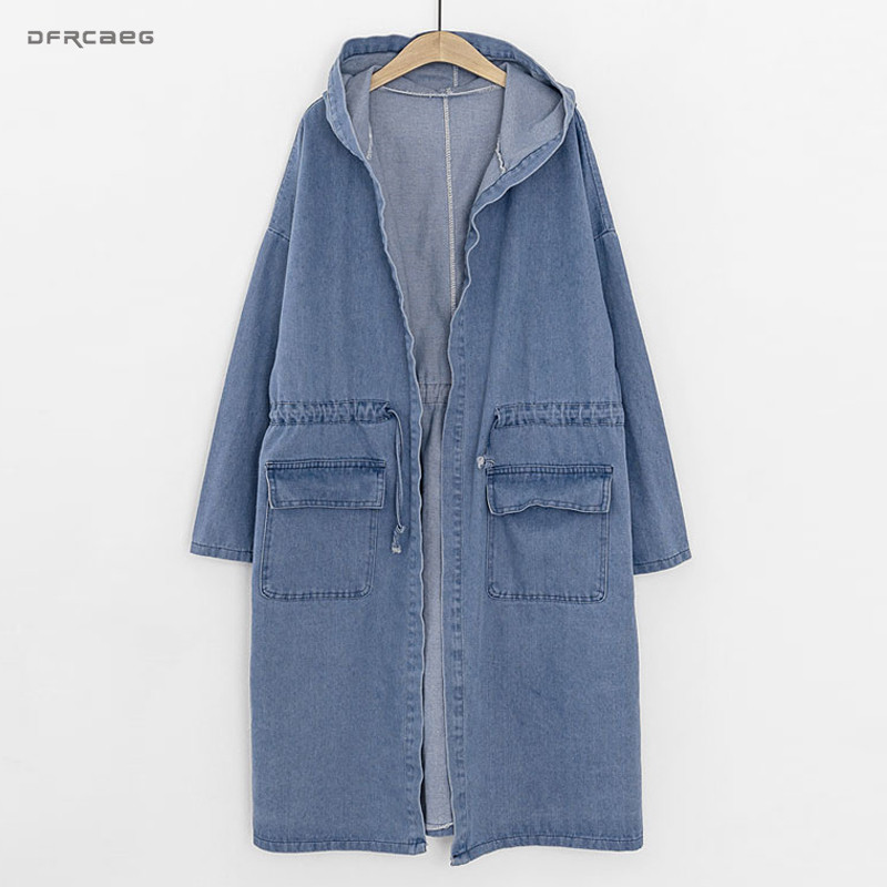 3XL 4XL Light Blue Hooded Women Denim   Trench   Coats 2018 Winter Fashion Vintage Long Coats Jeans Long Sleeve Plus Size Outwear