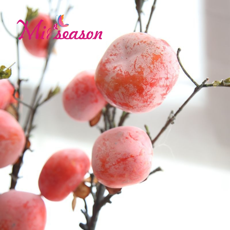 Miiseason Real Touch Persimmon Fruit Tree Branches Diospyros Kaki Persimmon Quality Artificial Fruits and Vegetables Home Garden