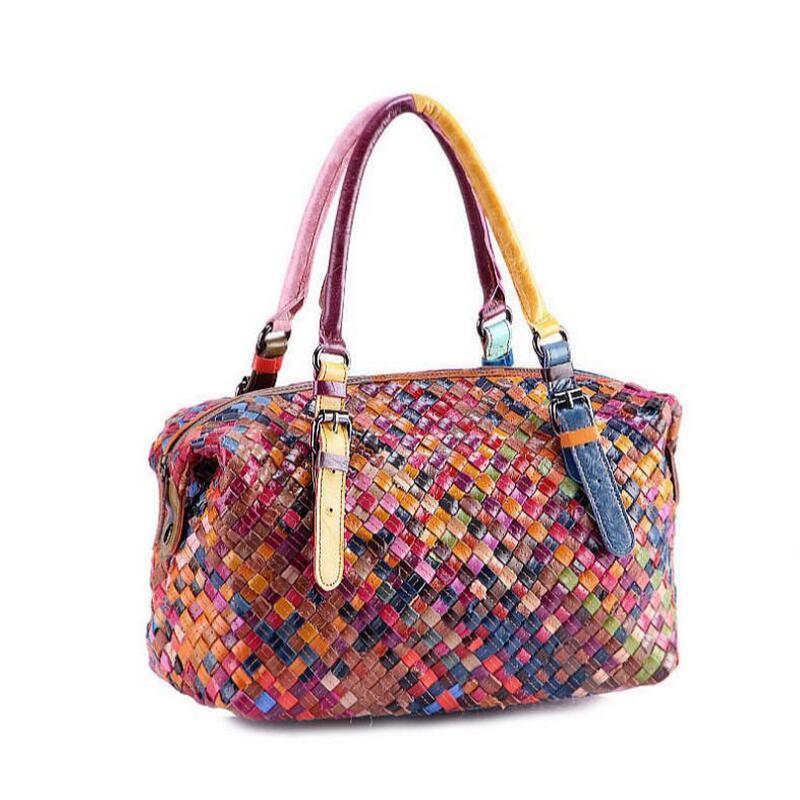 comprare popolare 802c7 c0ee3 US $37.65 52% di SCONTO Donne borse fatte a mano della borsa Variopinta  Patchwork cuoio genuino sacchetto tessuto a maglia Reale leather Tote  bag-in ...