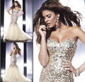 2015Hot Sale Free Shipping Mermaid Sweetheart Organza Satin Sequined Prom Dresses Evening Dresses With Crystals de641
