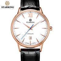 STARKING Uhr Männer Sport Wasserdicht 50M Edelstahl Uhr Männer Leder Mechanische Automatische Armbanduhr Neue Jahr Geschenk Männer