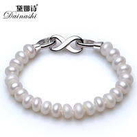 Hot Sale Oriental&Simple Shape 8 Crasp Strand Bracelet With Top Quality 8 9mm Natural Fresh Water BreadPearls For Girls Or Women