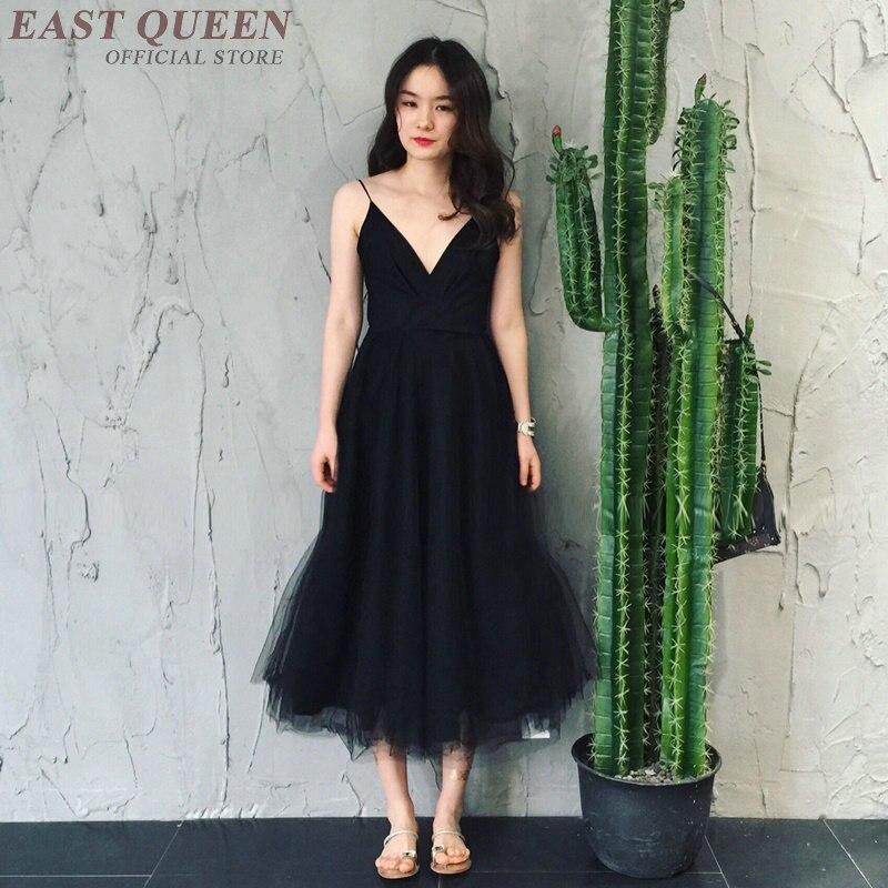 Robes d'été femme noir profond col en v robe avant de plage mode camisole robe à bretelles AA3369 F