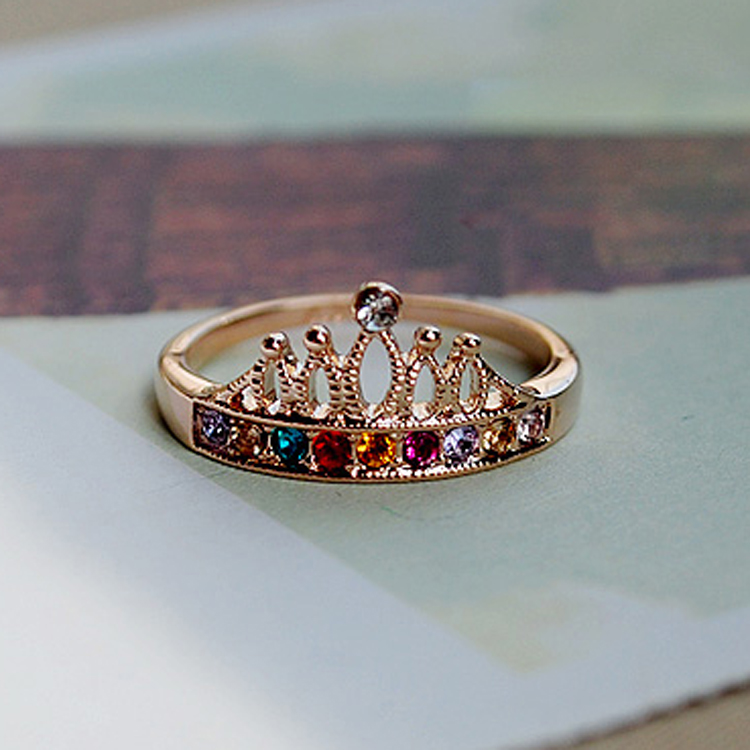 Beautiful Women Jewelry JD1291 Queen Colorful Rhinestone Crown Pattern Finger Ring Good Quality Gril Gift Circlet12pcs/lot