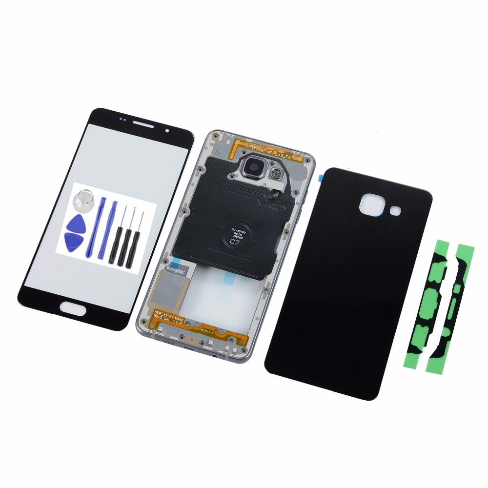 For Samsung A5 2016 A510 A510F Touch Screen Panel+Housing Metal Middle Frame+Back Glass Battery Cover+Tools
