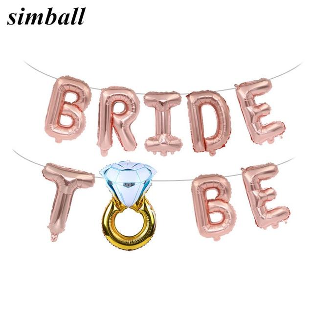 웨딩 신부 샤워 16 inch 골드 실버 신부 편지 포일 풍선 다이아몬드 반지 풍선 암탉 파티 호의 장식