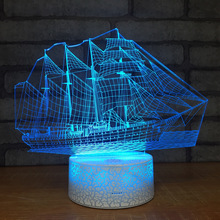Creative Boat Led 3d Small Night Lights New Strange Stripe Decorative Personality 3d Light Fixtures Usb Led Kids Lamp