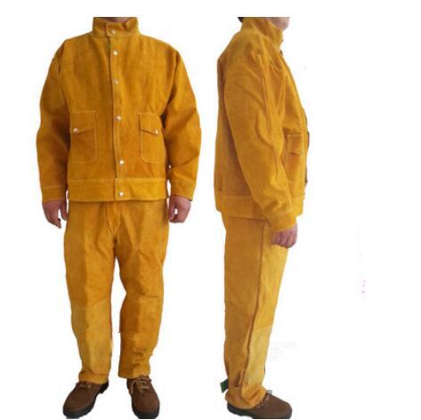 Segurança da soldadura clothing set calças tamanho livre vestuário de segurança de alta qualidade jaqueta de couro de vaca para soldadores grande tamanho 110301
